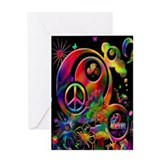 Lucky Peace Sign Collage Greeting Card