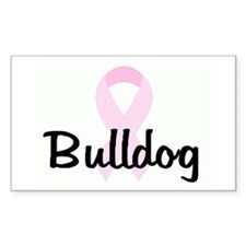 Bulldog pink ribbon Rectangle Decal