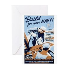 "WWII ""Build for the Navy"" Greeting Card"