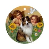 Angels and Shetland Sheepdog Ornament (Round)