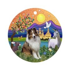Sheltie in Fantasy Land Ornament (Round)