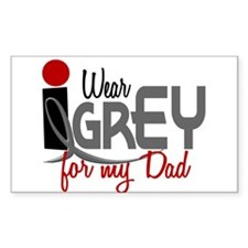 I Wear Grey For My Dad 32 Rectangle Decal