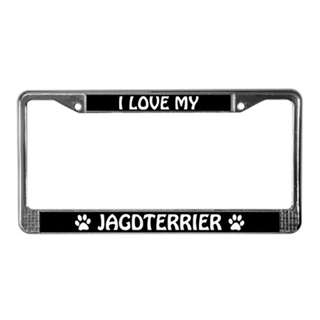 I Love My Jagdterrier License Plate Frame
