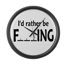 I'D RATHER BE FishING - Large Wall Clock
