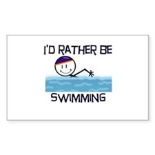 I'd Rather Be Swimming Rectangle Decal