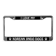 I Love My Korean Jindo Dogs License Frame