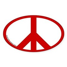 Peace Symbol Oval Decal (red on white)