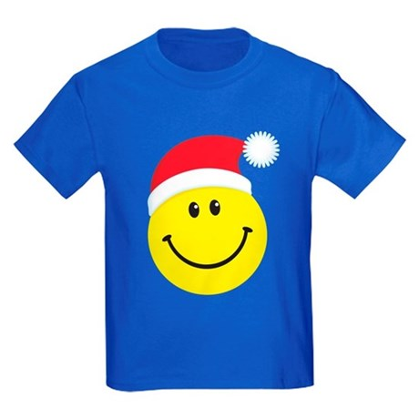 Santa Smiley Face: Kids Dark T-Shirt