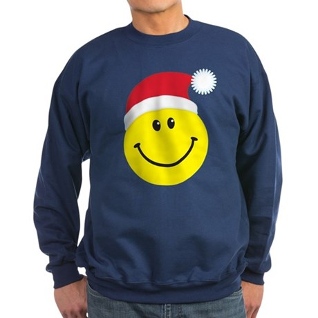 Santa Smiley Face: Sweatshirt (dark)