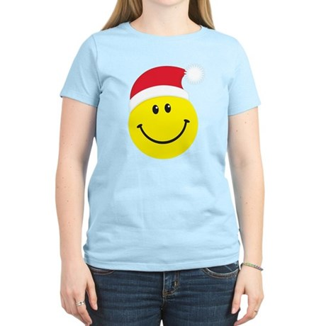 Santa Smiley Face: Women's Light T-Shirt