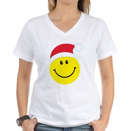 Santa Smiley Face: Women's V-Neck T-Shirt