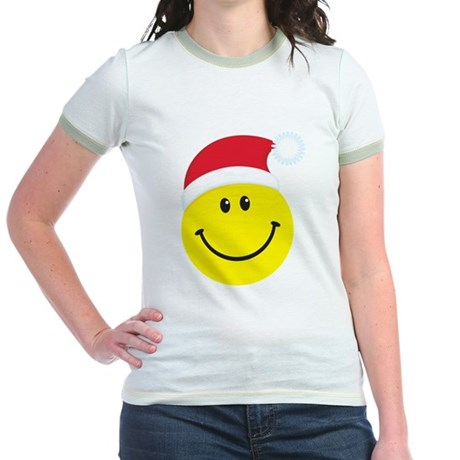 Santa Smiley Face: Jr. Ringer T-Shirt