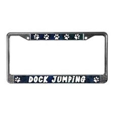 Paw Print Dock Jumping License Plate Frame (Blues)