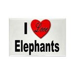 I Love Elephants Rectangle Magnet (10 pack)