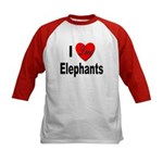 I Love Elephants (Front) Kids Baseball Jersey