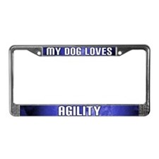 My Dog Loves Agility License Plate Frame (Blue)