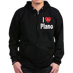 I Love Plano Texas (Front) Zip Hoodie (dark)