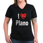 I Love Plano Texas (Front) Women's V-Neck Dark T-S