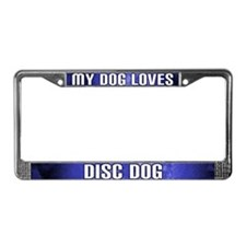 My Dog Loves Disc Dog License Plate Frame (Blue)