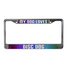 Dog Loves Disc Dog License Plate Frame (Rainbow)