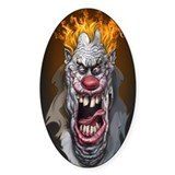 Burning Clown Oval Decal