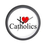 """I Love (Heart) Catholics"" Wall Clock"
