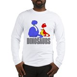 Dinosaurs (Blue & Red) Long Sleeve T-Shirt