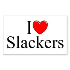 """I Love (Heart) Slackers"" Rectangle Decal"
