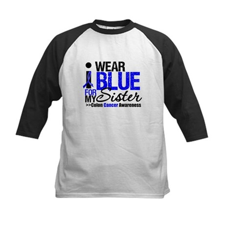 I Wear Blue Sister Kids Baseball Jersey