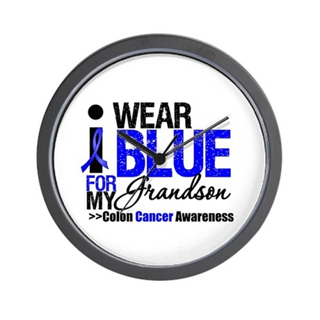 I Wear Blue Grandson Wall Clock