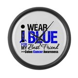 I Wear Blue (Best Friend) Large Wall Clock