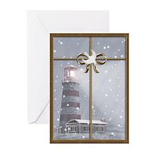 Lighthouse, Winter Christmas Greeting Cards (Pk o