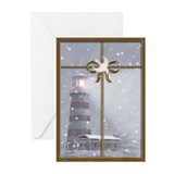 Christmas lighthouse Greeting Cards (10 Pack)