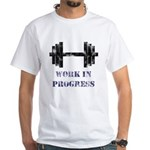 Gym Work In Progress Distressed White T-Shirt