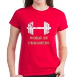 Gym Work In Progress Distressed Women's Dark T-Shi