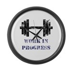 Gym Work In Progress Distressed Large Wall Clock