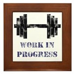 Gym Work In Progress Distressed Framed Tile