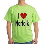 I Love Norfolk (Front) Green T-Shirt