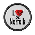 I Love Norfolk Large Wall Clock