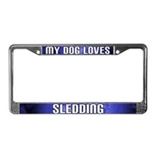 My Dog Loves Sledding License Plate Frame (Blue)