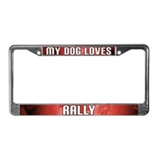 My Dog Loves Rally License Plate Frame (Red)
