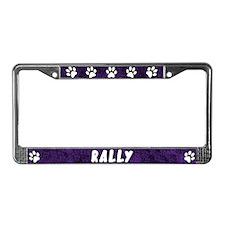 Paw Print Rally License Plate Frame (Purple)