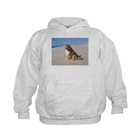 Collie at the Beach Kids Hoodie