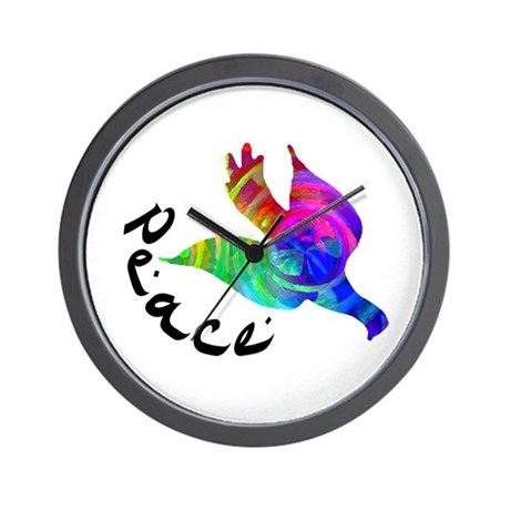 Rainbow Dove Peace Wall Clock