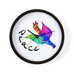 Rainbow Dove Peace Wall Clock