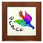 Rainbow Dove Peace Framed Tile