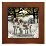 BRITTANY SPANIEL DOGS WINTER SUNSET Framed Tile