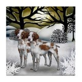 BRITTANY SPANIEL DOGS WINTER SUNSET Tile Coaster