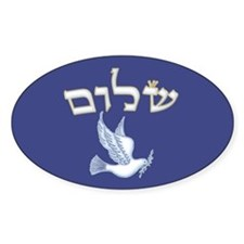 Shalom w/Dove /Bg (Hebrew) Oval Decal