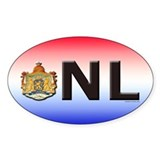 Netherlands (NL) Oval Sticker (10 pk)